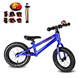 Diwenhouse Kids Balance Bike – Toddler Training Balance Bike for Boys and Girls Ages 2 to 6 Years Include 12 inch Inflatable Wheels, Bicycle Pump, Helmet, Bell and Protective Kits