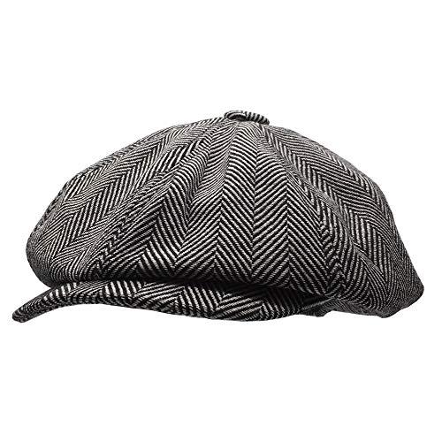 Men's Classic Herringbone Tweed Wool Blend Newsboy Ivy Hat Vintage Beret Cap (Black, Large)