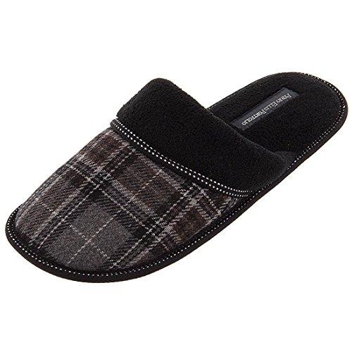 perry-ellis-portfolio-mens-8-13-black-plaid-slip-on-slippers-xl-11-12