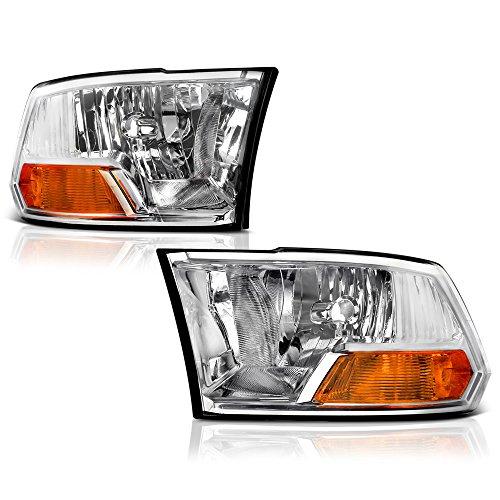 VIPMOTOZ Chrome Housing OE-Style Dual Beam Headlight Headlamp Assembly For 2009-2018 Dodge RAM 1500 2500 3500 Pickup Truck, Driver & Passenger Side