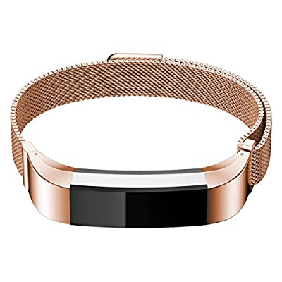 """Metal Band for Fitbit Alta, Replacement Accessories for Men and Women, 6.2"""" - 9"""" Wrist, Black Silver Rose Pink Gold Coffee Blue"""