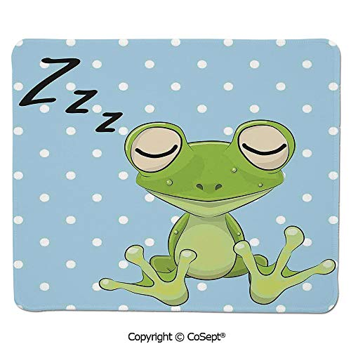 (Quality Selection Comfortable Mouse Pad,Sleeping Prince Frog in a Cap Polka Dots Background Cute Animal World Kids Home Decor,for Computer,Laptop,Home,Office & Travel(15.74