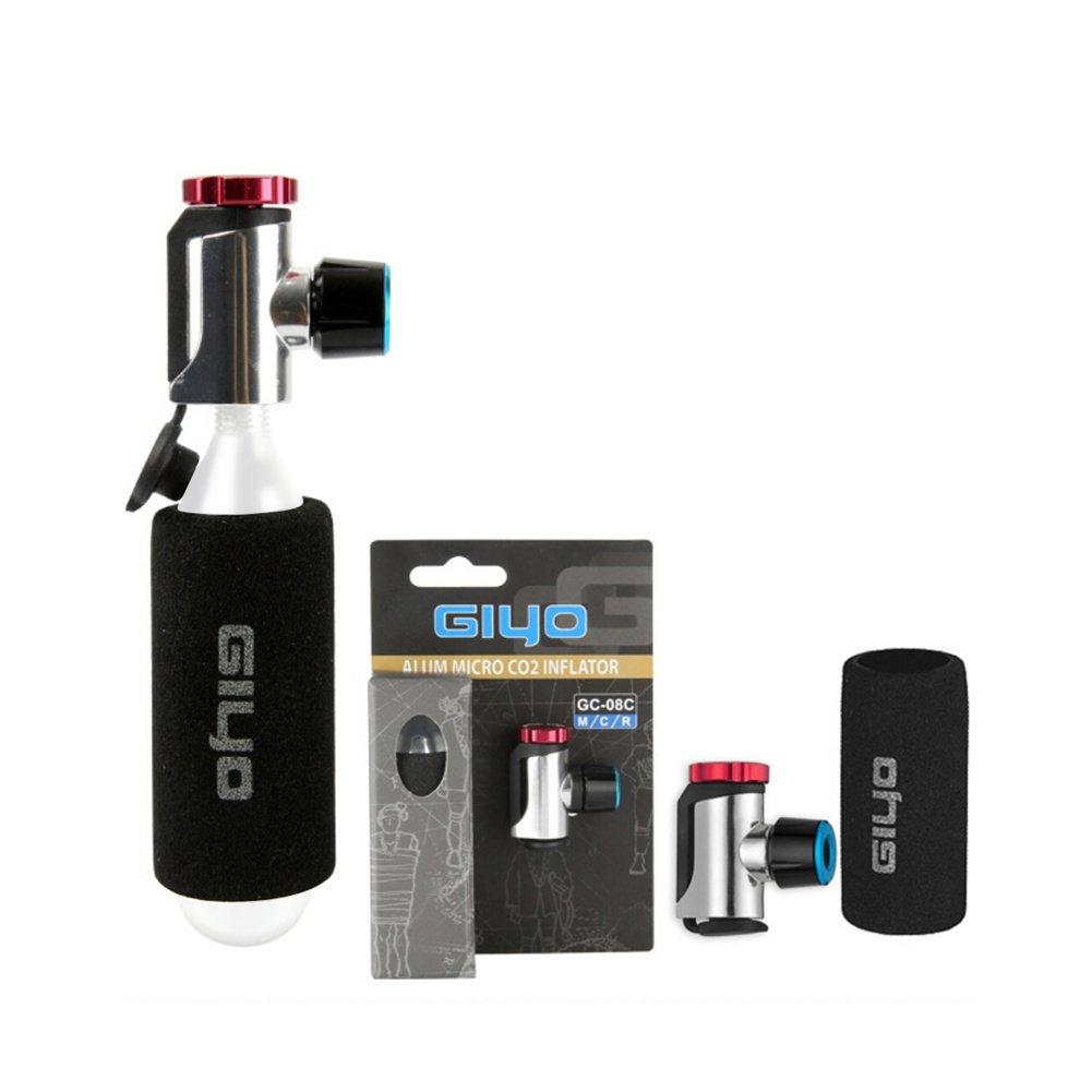 Inflador de CO2 con cartucho de almacenamiento - Rápido, fácil y seguro - para válvulas Presta y Schrader - Bomba para neumáticos de bicicletas de carretera ...