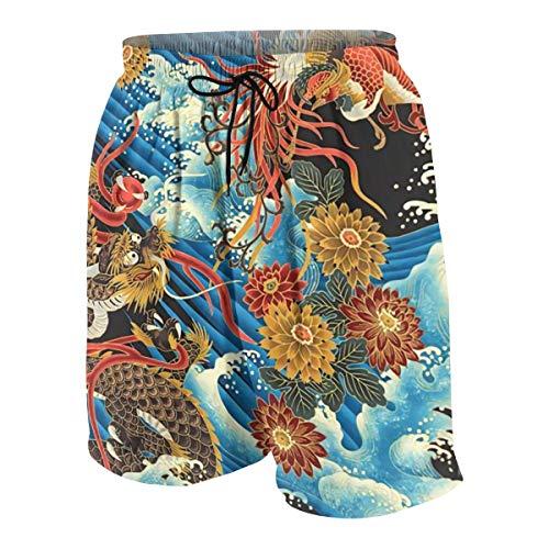 Boys Teens Swim Trunks Beach Shorts Quick Dry Eastern Chinese Style Dragon Phoenix Sea Wave Beachwear Summer Cool Swimming Short with Pockets White