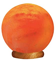 WBM Himalayan Glow Hand Carved  Globe Natural Crystal Himalayan Salt Lamp With Genuine Neem Wood Base, Bulb And Dimmer Control