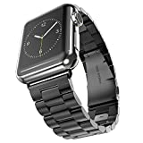 Apple Watch 42mm Band, YESOO Space Black Apple Watch Stainless Steel Link Bracelet Strap Band And Watch Adapter (YESOO Retail Packaging - 180 Days Warranty) (Space Black 42mm)