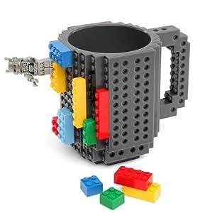 AuroTrends DIY Build-on Brick Mug – Have Fun with Your Coffee Mug-350ml (Grey)