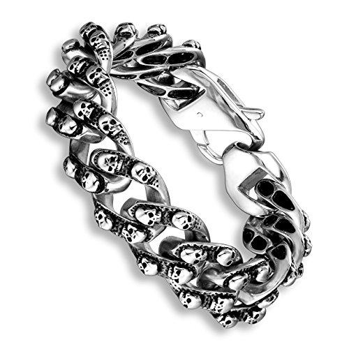 Urban Jewelry Elegant Men's Mini Skull Heads Chain Link Bracelet 8.85 Inches Stainless Steel (Silver (Silver Tone Metal Bracelet)
