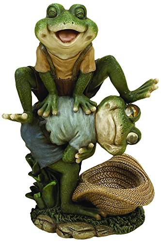 Deco 79 94761 Polystone Decorative Leap Frog Statue, 7 by 13-Inch ()