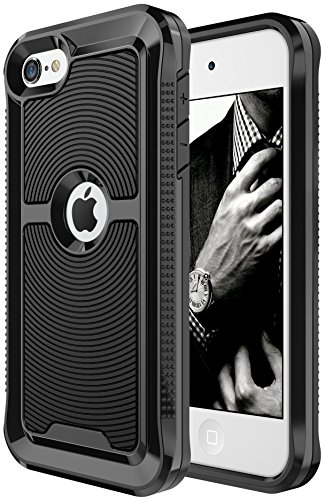 iPod Touch 6th Generation Case, SGM Premium Hybrid High Impact Shock Absorbent Defender Case With Anti-Slip Grip For Apple iPod Touch 5/6 (Black / Black - New New Mall Port Jersey