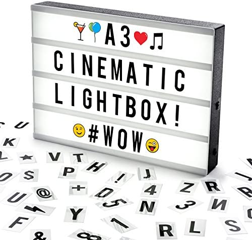 Cosi Home™ A3 Lightbox, Lichtbox, Leuchtkasten mit 120 Buchstaben, Emojis und Symbolen - zum individuellen Gestalten von Nachrichten - LED Deko Leuchtschild im Vintage Kino Design   USB und Batterie