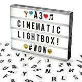 Cosi Home A3 Cinematic Light Box with 120 Letters, Emoji, Smilies and Symbols - Personalise your own Message - Battery and USB Power