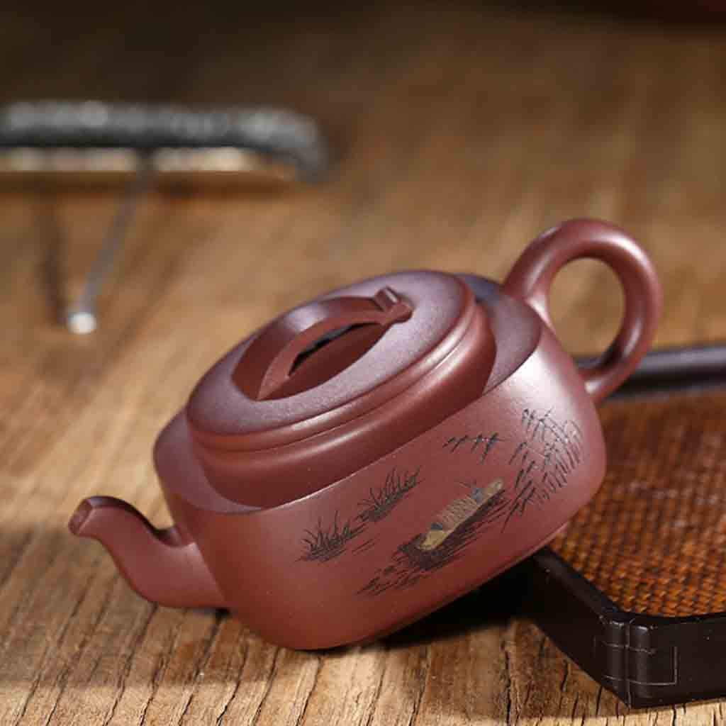 Teapot handmade large capacity teapot square tea set mixed pot kung fu teapot set non-ceramic full hand-painted teapot (Color : BROWN, Size : 16.4X7CM) by GQQ (Image #3)