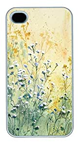 iPhone 4 4s Case, iPhone 4 4s Cases Painting Flowers Custom Design PC Hard Plastics Case Cover Protector for iPhone 4 4s White