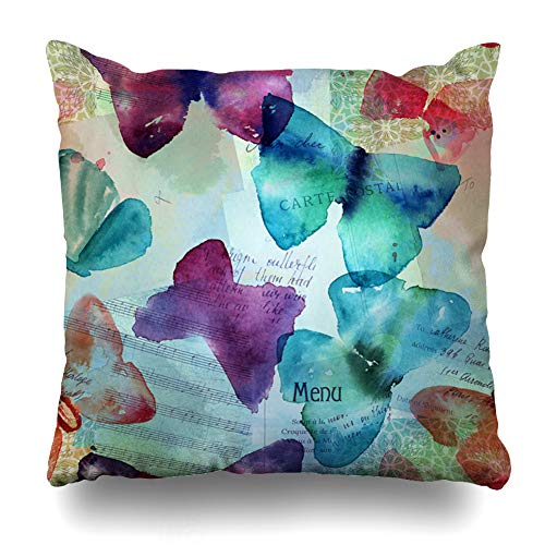 DIYCow Throw Pillow Cover Pillowcase Nature Blue Carte Abstract Freehand Watercolour Butterflies Post Ephemera Purple Clipping Collage Home Decor Design Square Size 16