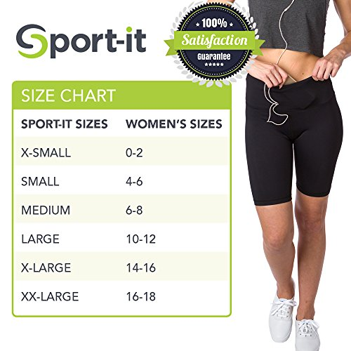Sport it Active Long Shorts, Women's Workout Bike Running Shorts with Pockets and Tummy Control, Athletic Training Half Yoga Pants