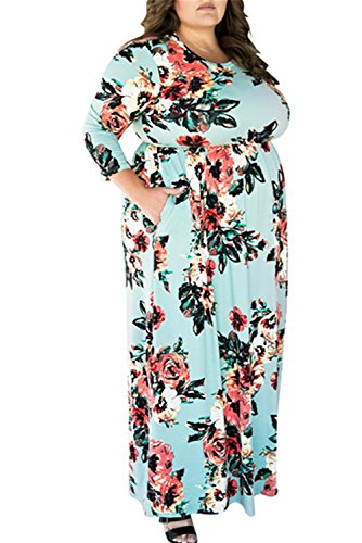 (VIVOSKY Women's Plus Size Maxi Dress Floral Print Long Dress Three Quarter Sleeve with Pocket Floor-length Dress , Blue , 3X)