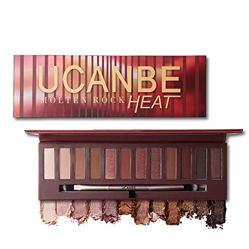 Ucanbe Nude Red Eyeshadow Palette Glitter Matte Metallic Pigmented Eye Shadow Warm Shimmer Waterproof long last Makeup Pallet ()