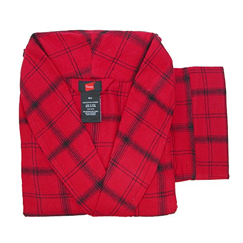 Hanes Men's Big and Tall Cotton Flannel Robe, 3X/4X, New Red Plaid (Big And Tall Mens Robes)
