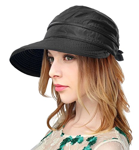- Eqoba Women's Outdoors Summer 2 in 1 Adjustable Velcro Bowtie Sun Hat, Black