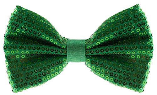 Green Men's Sequin Bow Ties - Pre-tied Adjustable Length Bowtie, Many Colors to Choose From ()