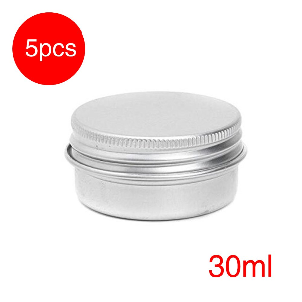 5 x 30 ml Aluminiumdosen rund Vorratsdosen mit Schraubdeckel Metalldosen Reisedosen Kosmetik-Nachfüllbehälter oobest