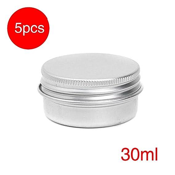 Lot de 5 boîtes de rangement rondes en aluminium avec couvercles à visser 30 ml, pour produit cosmétiques, rechargeables