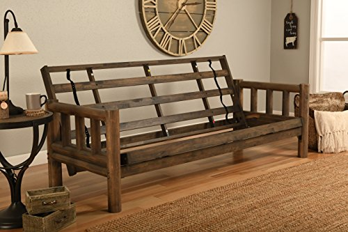 Log Style Futon - Jerry Sales Lodge Frame only Choose Natural Clear or Rustic Finish Full Size Sofa to Bed (Rustic Finish)