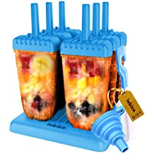 Popsicle Molds Set - BPA Free - 6 Ice Pop Makers + Silicone Funnel + Cleaning Brush + Ice Cream Recipes E-book - by Lebice