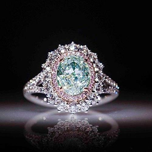 Digital baby Sparkling 925 Sterling Silver Water Droplets Created Gemstone Aquamarine Sapphire Ring for Women Wedding Engagement Party Jewelry Size 6 7 8 9 10(Multi-Color,6)