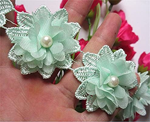 5x Flower Pearl Lace Edge Trim Wedding Bridal Ribbon Applique Sewing Craft