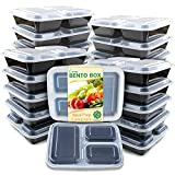 #7: Enther Meal Prep Containers [20 Pack] 3 Compartment with Lids, Food Storage Bento Box | BPA Free | Stackable | Reusable Lunch Boxes, Microwave/Dishwasher/Freezer Safe,Portion Control (36 oz)