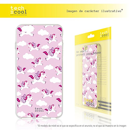 Schutzhülle für iPhone 7 techcool® [Gel Silikon Flexible Gel TPU hohe Qualität] [Ultra Slim 1,5 mm-gran Widerstand] [Exklusives Design, High Definition] [Einhörner Pink]