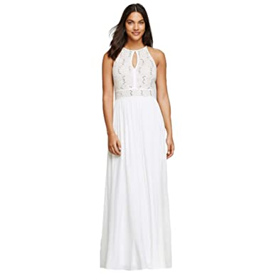 Amazon.com: David\'s Bridal Long Halter Dress with Glitter Lace ...