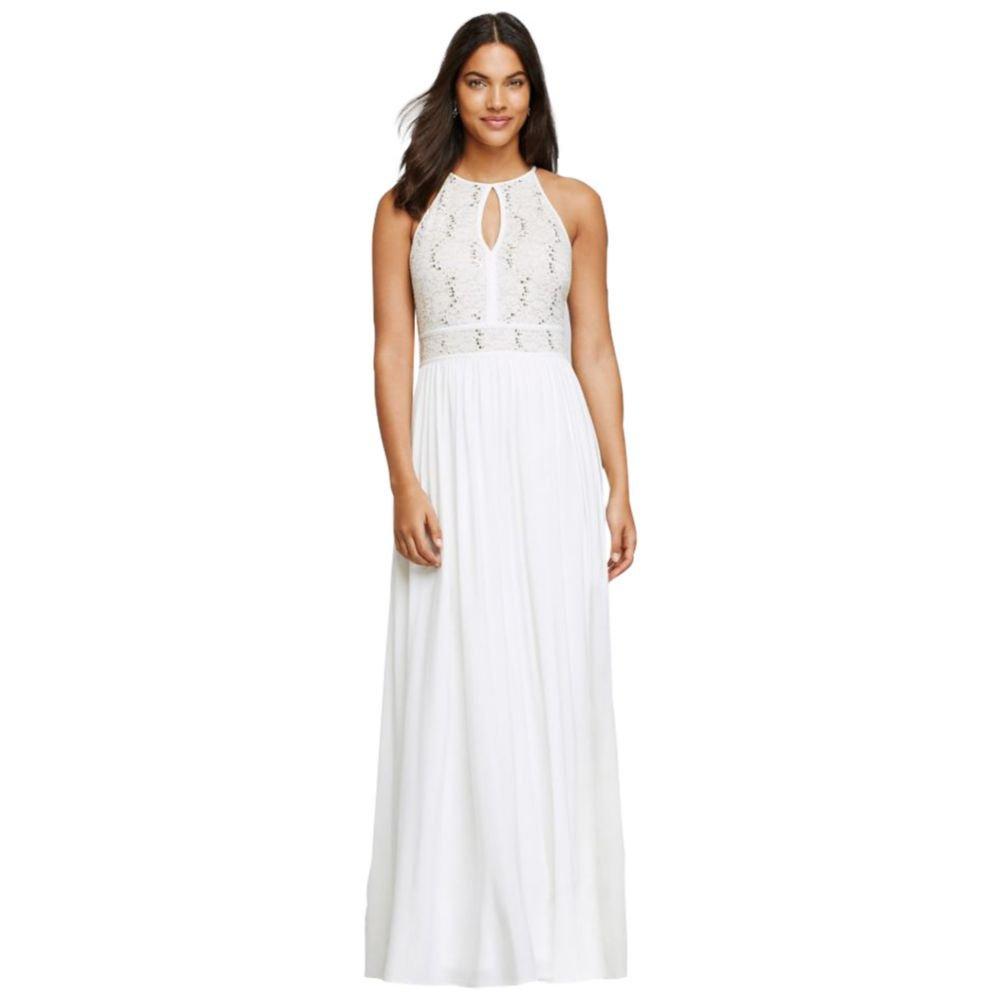 David's Bridal Long Halter Dress with Glitter Lace Bodice Style 12203, Ivory, 12