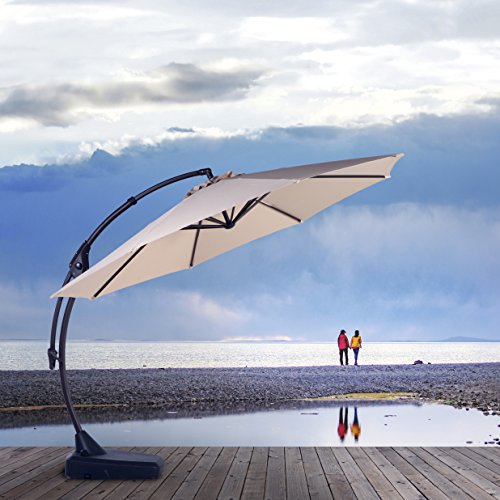 Grand patio Deluxe 10 FT Curvy Aluminum Offset Patio Umbrella with Handle and Crank, Banana Style Patio Cantilever Umbrella, 8 Ribs Large Patio Umbrella with Base, Red