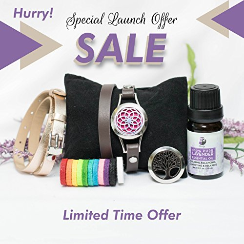 Essential Oil Bracelet Set with Gift Box and 10ml Lavender Essential Oil - Anxiety Bracelet - Aromatherapy On The Go