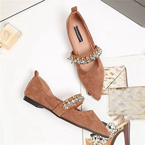 Flats On Womens Casual Brown Classic Shoes Pointed GIY Loafer Ballet Toe Slip Suede Loafers Dress Rhinestone qIBzWwaF