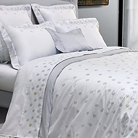 Yves Delorme Neige White Queen Flat Sheet Embroidered Silver Snowflakes 100 Egyptian Cotton Sateen
