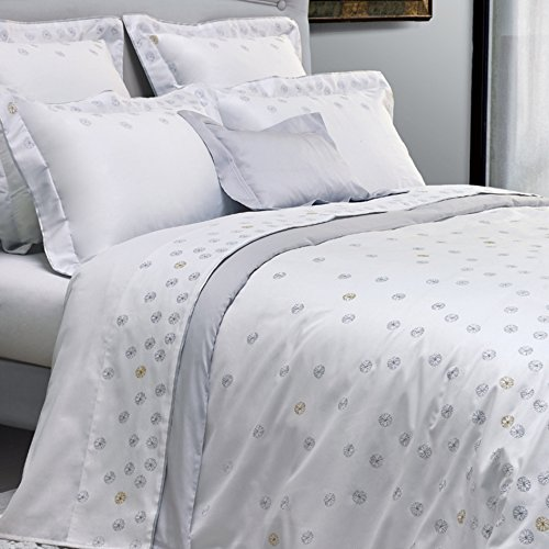 Yves Delorme Neige White King Flat Sheet Embroidered Silver Snowflakes 100% Egyptian Cotton Sateen - Snowflake Embroidered Sheet Sets