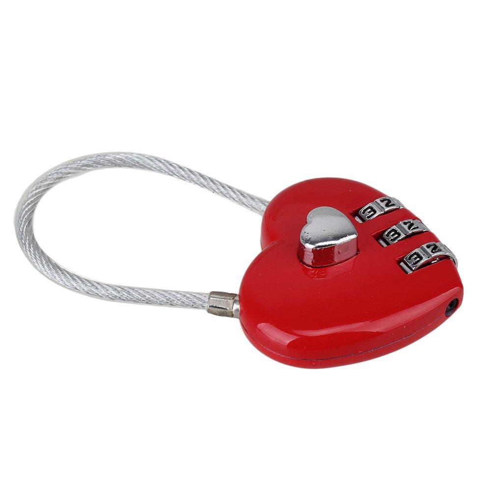 Mxfans 3 Digits Heart Shape Love Lock Code Luggage Padlock Present Gift For Girlfriend