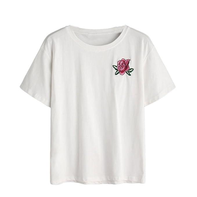 OVERDOSE Damen Sommer T-Shirts Frauen Sommer Eine Rose Stickerei Bedruckte  Bluse Kurzarm O-Ausschnitt Tops T-Shirt: Amazon.de: Bekleidung