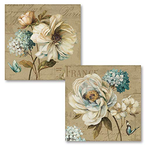 Gango Home Décor Beautiful Teal, Tan and Brown Floral and Butterfly Print Set by Lisa Audit; Two 16x16in Paper Giclee Prints
