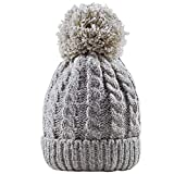 Women's Winter Beanie Warm Fleece Lining - Thick Slouchy Cable Knit Skull Hat