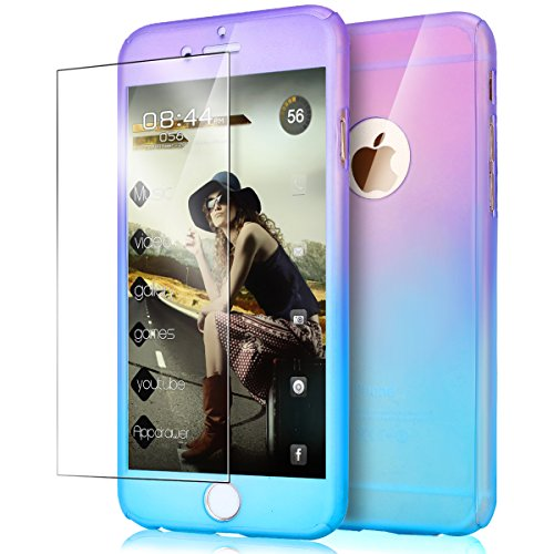 ikasus iPhone 6S Case,iPhone 6 Case, [Tempered Glass Protector] Luxury Gradient Color Ultra-thin Shockproof Armor PC Anti-Slick Full Body Protective Bumper Case Cover for iPhone 6S/6 4.7,Purple Blue