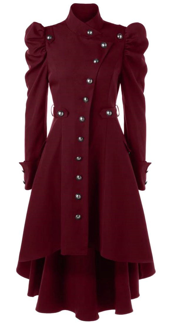 Etecredpow Women's Victorian Steampunk Single Breasted Irregular Long Trench Coat