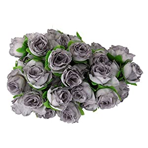 50pcs 3cm Artificial Roses Flower Heads Wedding Decoration Grey 74
