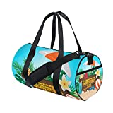 U LIFE Hello Welcome Summer Tropical Ocean Sea Beach Sports Gym Shoulder Handy Duffel Bags for Women Men Kids Boys Girls
