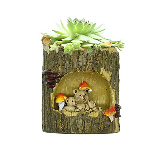 Uranosky Creative Bear Family Resin Succulent Plant Pot Planter Container Office Home Garden Decoration