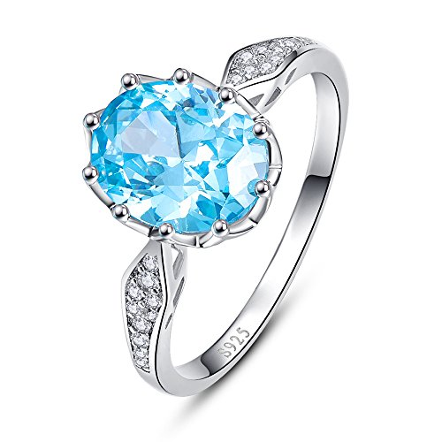 BONLAVIE 4ct Oval Cut Created Swiss Blue Topaz Round Cut CZ Engagement Anniversary Ring for Women Size 9